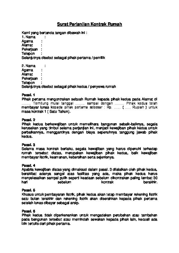 Doc Surat Perjanjian Kontrak Rumah Putri Maria Ulfa