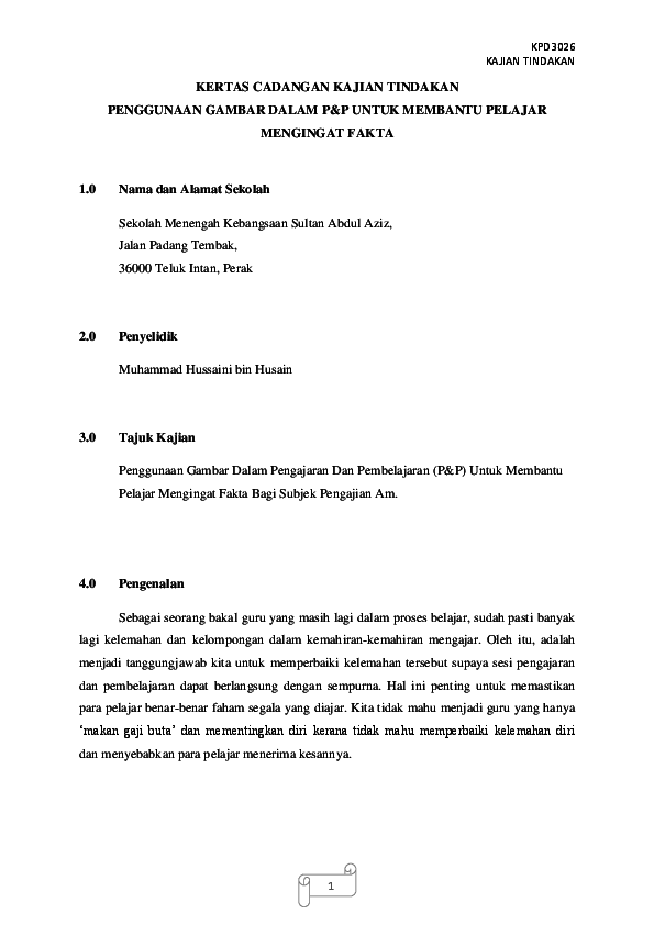 Doc Kertas Cadangan Kajian Tindakan Hussaini Husain Academia Edu