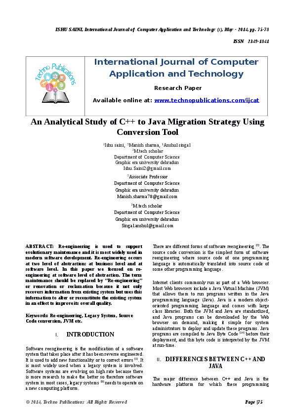 PDF) An Analytical Study of C++ to Java Migration Strategy