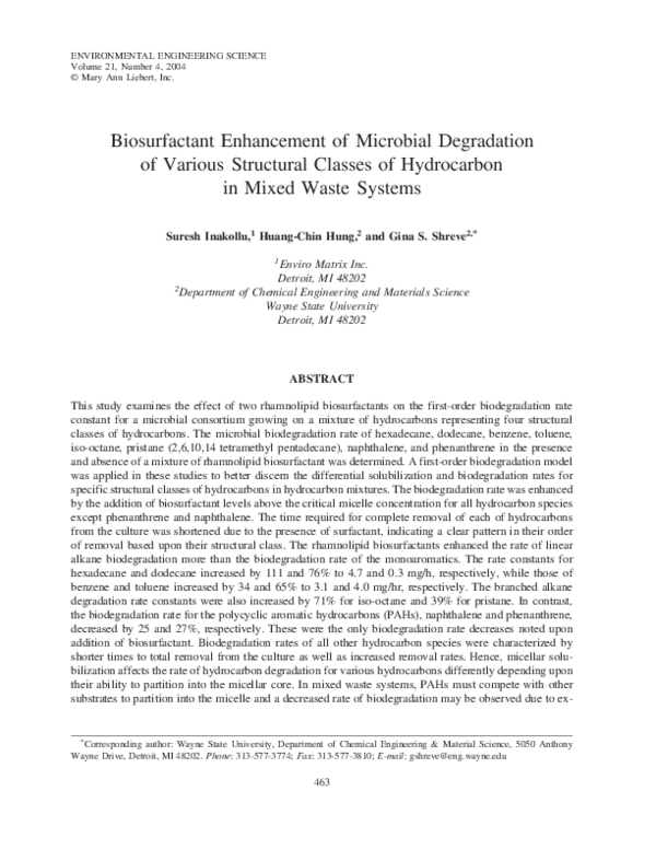 PDF) Biosurfactant Enhancement of Microbial Degradation of