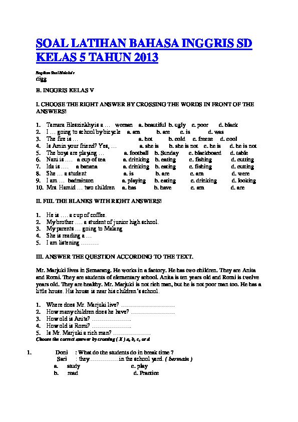 Doc Soal Latihan Bahasa Inggris Sd Kelas 5 Tahun 2013