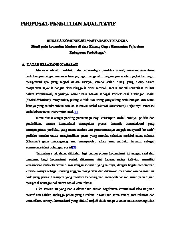 Doc Proposal Penelitian Kualitatif Nanda Indriana Academia Edu
