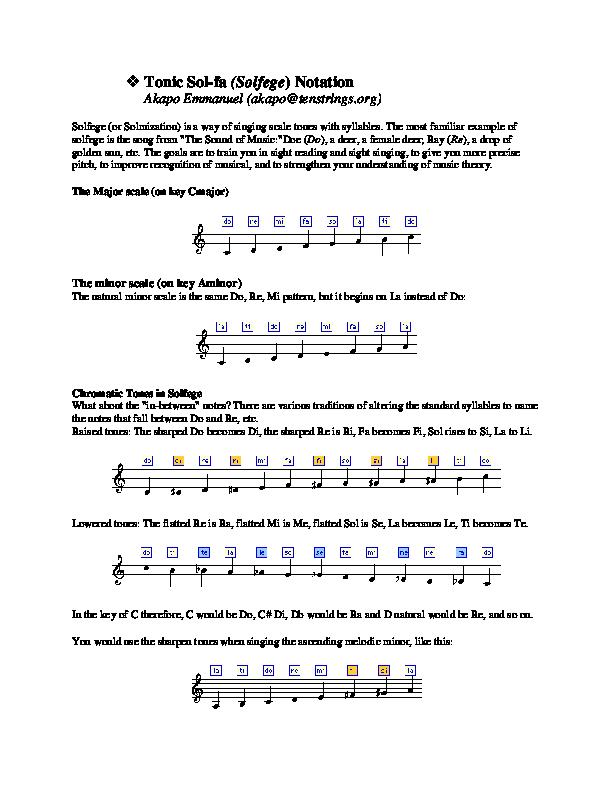 Pdf Tonic Sol Fa Solfege Notation Raheem Oriyomi Academiaedu