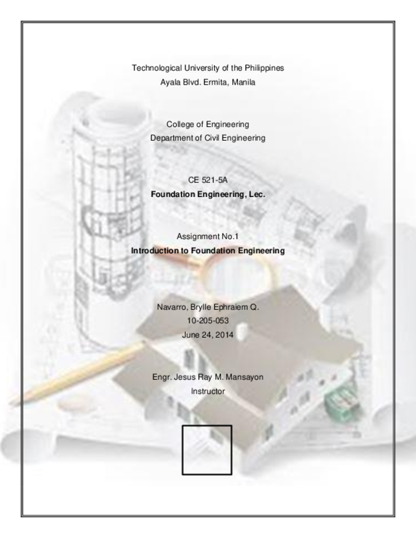 PDF) Navarro A#1 Introduction to Foundation Engineering 2014-2015