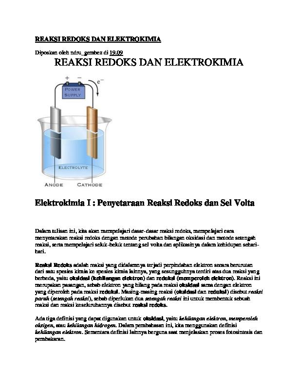 Doc Reaksi Redoks Dan Elektrokimia Hamadi Tak Terlupakan Academia Edu