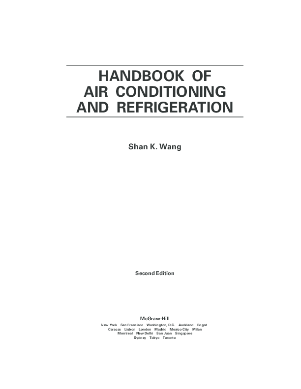 PDF) Handbook of Air Conditioning and Refrigeration | Sourav