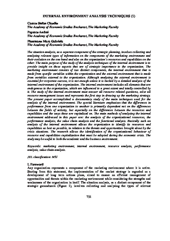 PDF) INTERNAL ENVIRONMENT ANALYSIS TECHNIQUES | Popescu Mara
