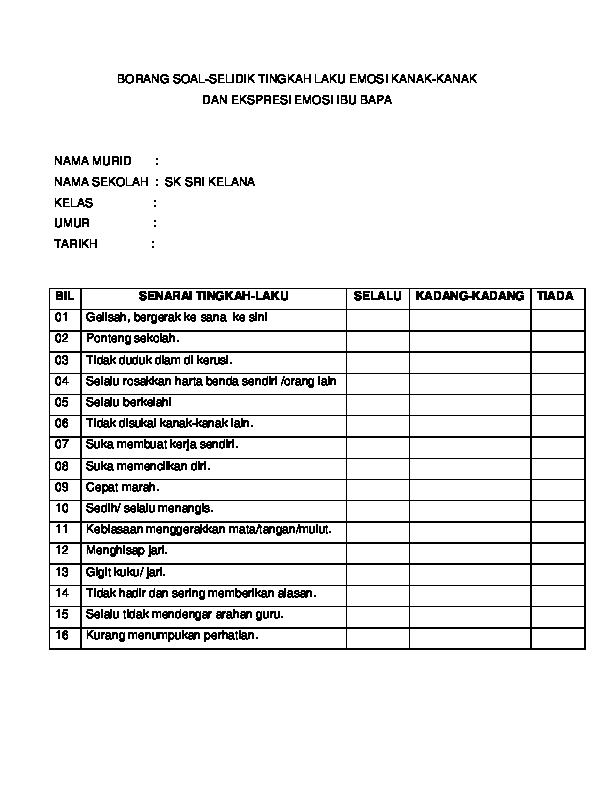 Doc Borang Soal Selidik Tingkah Laku Emosi Kanak Kanak Dan Ekspresi Emosi Ibu Bapa Rabiatul Dawiyah Ii Academia Edu