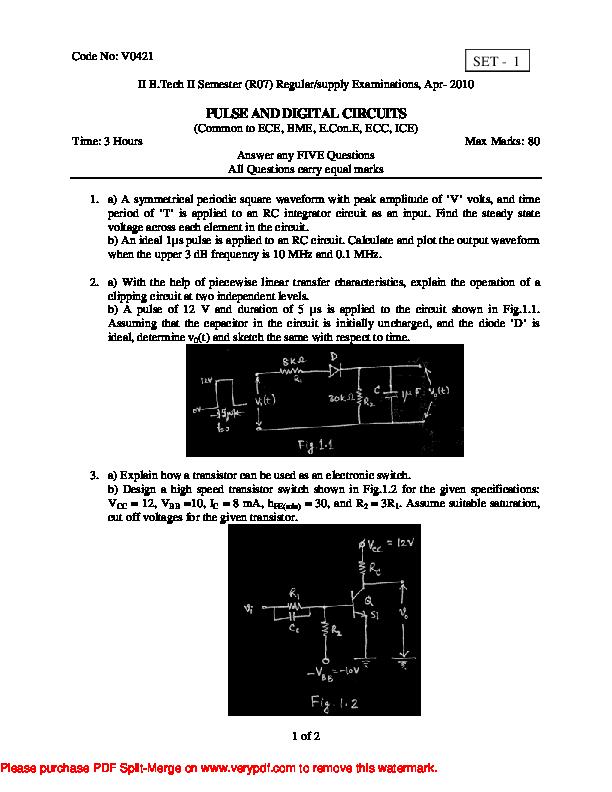 PDF) PULSE AND DIGITAL CIRCUITS | Mahesh G - Academia edu