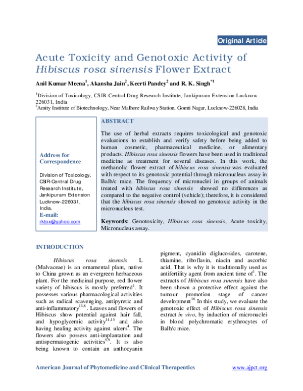 Pdf Acute Toxicity And Genotoxic Activity Of Hibiscus Rosa Sinensis