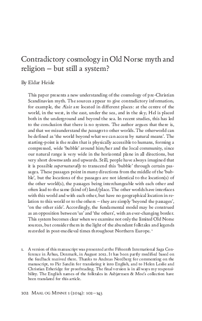 PDF) Contradictory cosmology in Old Norse myth and religion