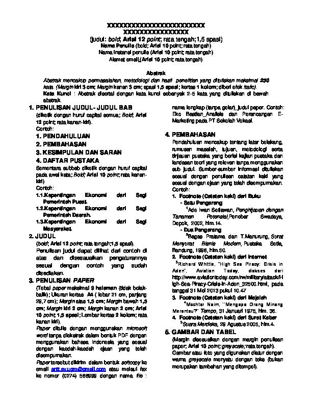 Pdf Format Penulisan Paper Arsyal Apriyadi Academia Edu