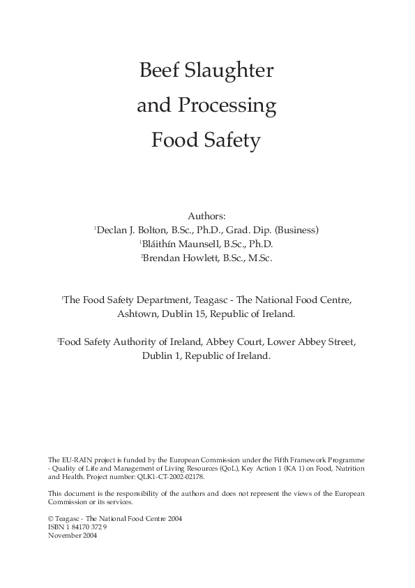 PDF) 2 Beef Slaughter and Processing Food Safety | Carmen