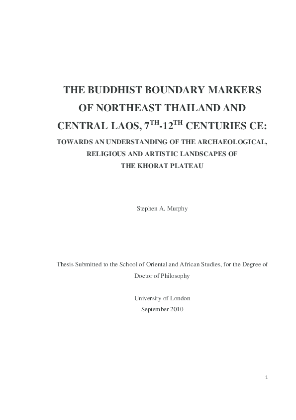 PDF) THE BUDDHIST BOUNDARY MARKERS OF NORTHEAST THAILAND AND CENTRAL