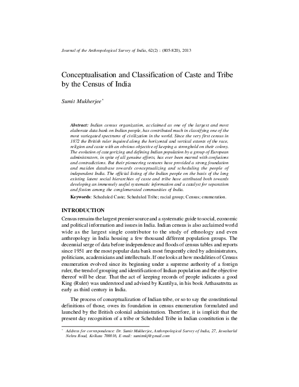 PDF) Conceptualisation and Classification of Caste and Tribe