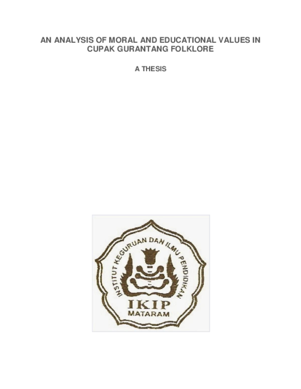 pdf an analysis of moral and educational values in cupak