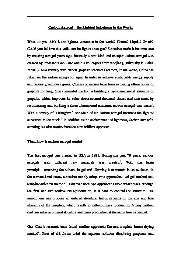 DOC) Carbon aerogel—the lightest substance | Li Jiaoyi - Academia edu