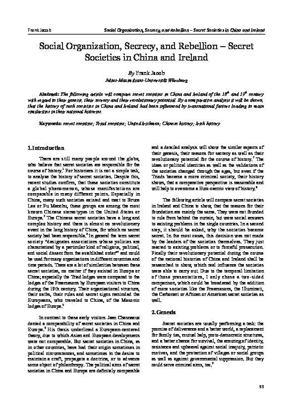 PDF) Social Organization, Secrecy, and Rebellion – Secret
