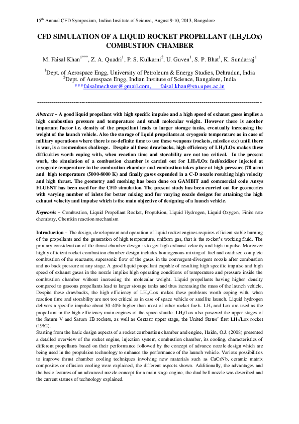 PDF) CFD SIMULATION OF A LIQUID ROCKET PROPELLANT (LH2/LOx