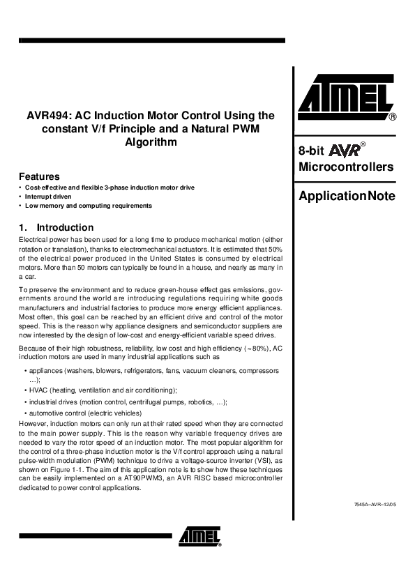 PDF) AVR494: AC Induction Motor Control Using the constant V/f