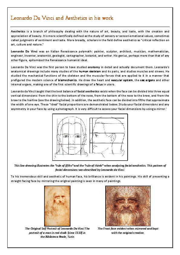 PDF) Leonardo Da Vinci and Aesthetics in his work | Bhaumik