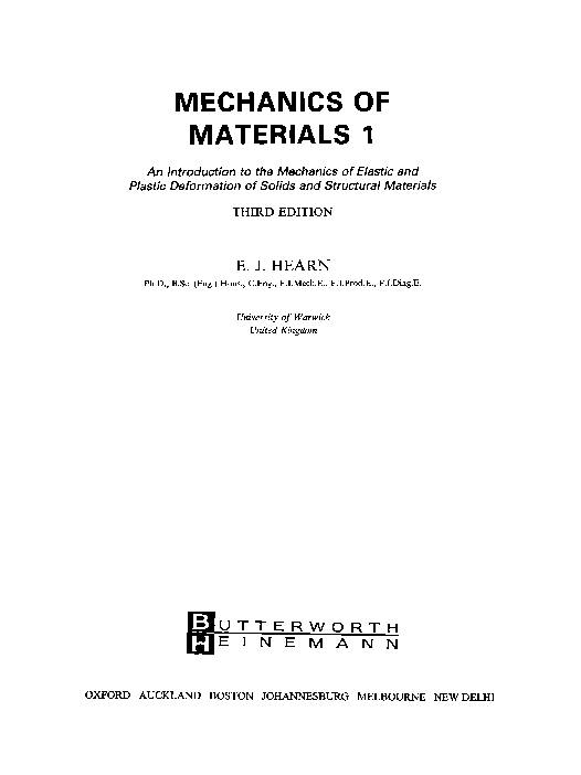 Pdf Mechanics Of Materials I An Introduction To The Mechanics Of