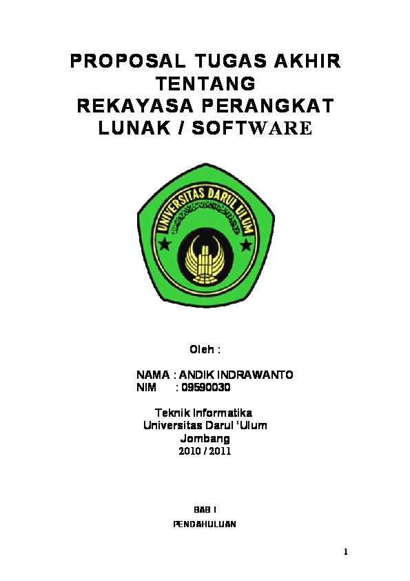 Doc Proposal Tugas Akhir Tentang Rekayasa Perangkat Lunak Software Oleh Nama Andik Indrawanto Nim 09590030 Eko Sukirman Academia Edu