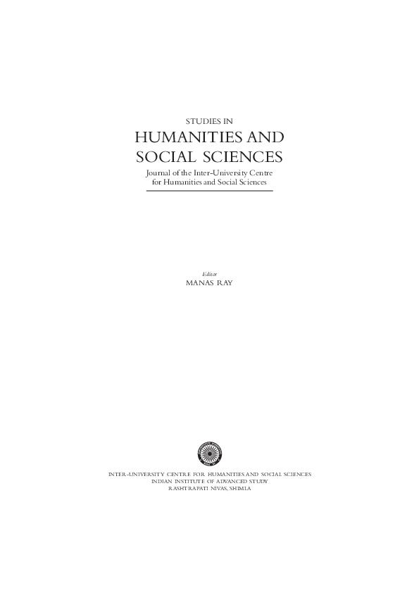PDF) STUDIES IN HUMANITIES AND SOCIAL SCIENCES Journal of