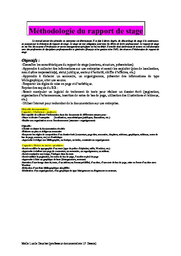Doc Méthodologie Du Rapport De Stage Sarah Sunrise