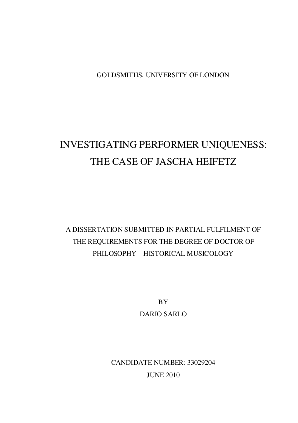 Investigating Performer Uniqueness The Case Of Jascha Heifetz Phd