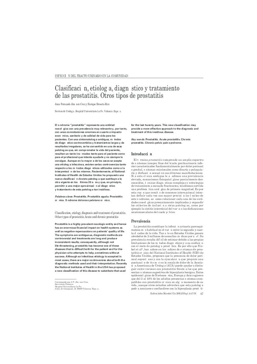 nih definición de prostatitis crónica síndrome de dolor pélvico crónico