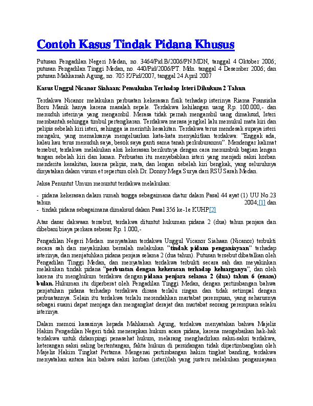 (DOC) Contoh Kasus Tindak Pidana Khusus | Ofye Hermawan ...