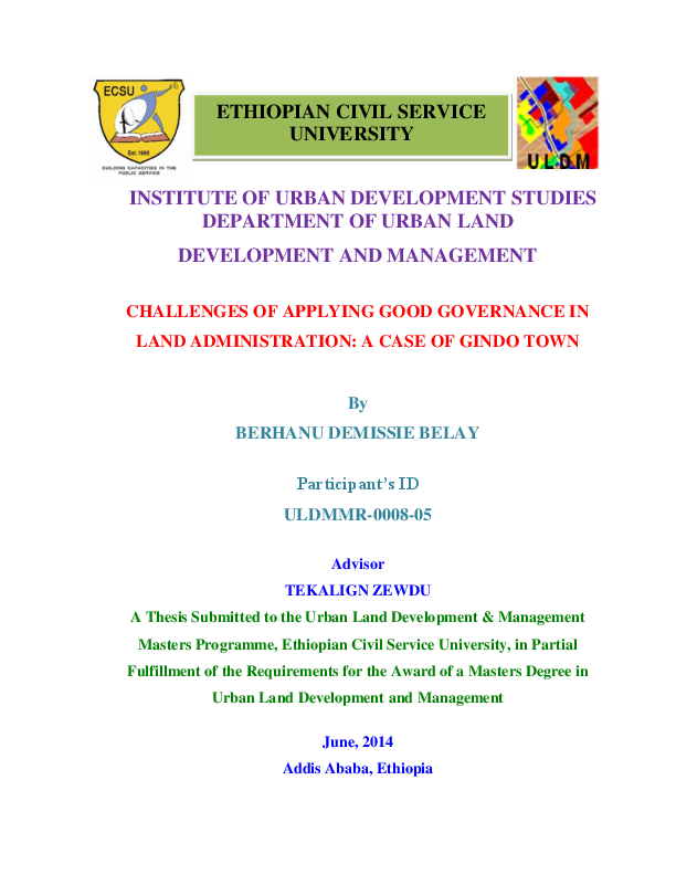 PDF) Challenges of Applying Good Governance in Land