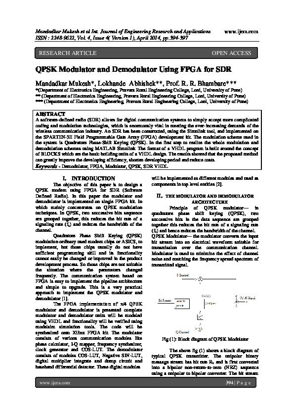 PDF) QPSK Modulator and Demodulator Using FPGA for SDR