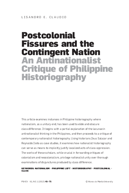 PDF) Postcolonial Fissures and the Contingent Nation: An