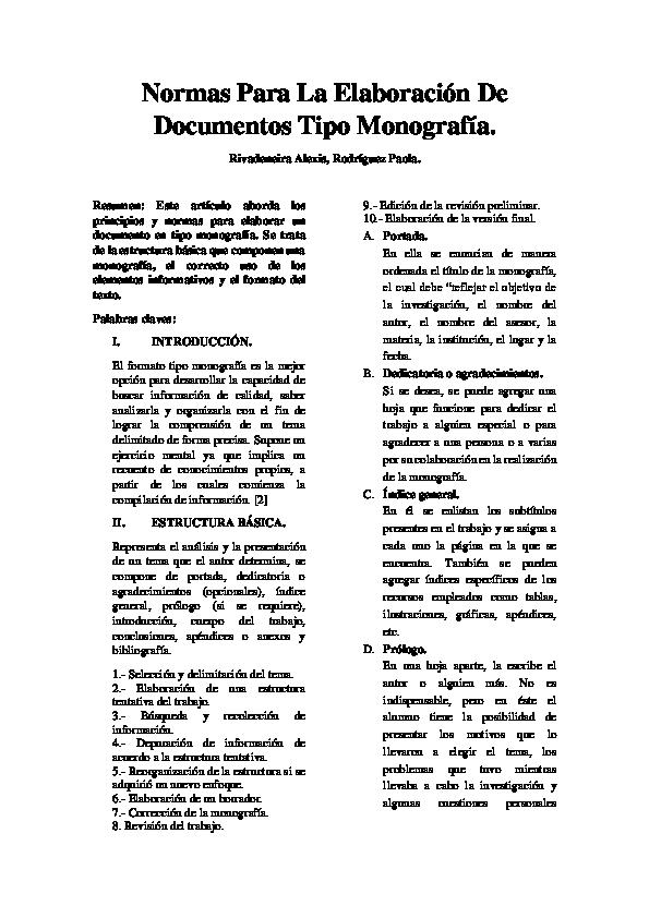 Pdf Normas Para La Elaboración De Documentos Tipo