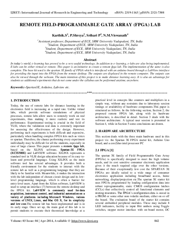 PDF) REMOTE FIELD-PROGRAMMABLE GATE ARRAY (FPGA) LAB
