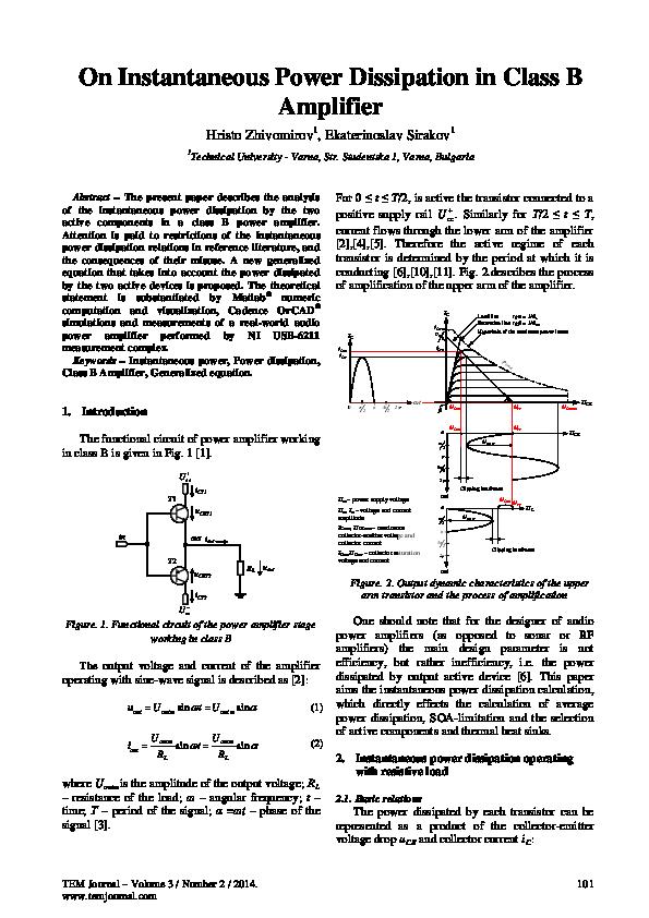 PDF) On Instantaneous Power Dissipation in Class B Amplifier