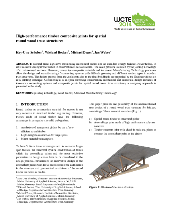 PDF) High-performance timber composite joints for spatial