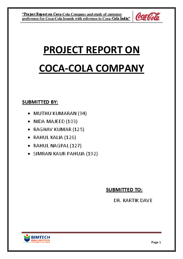 DOC) PROJECT REPORT ON COCA-COLA COMPANY SUBMITTED BY
