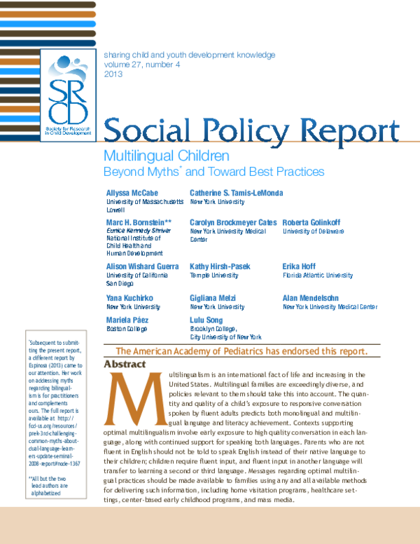 PDF) Multilingual Children: Beyond Myths and Toward Best Practices