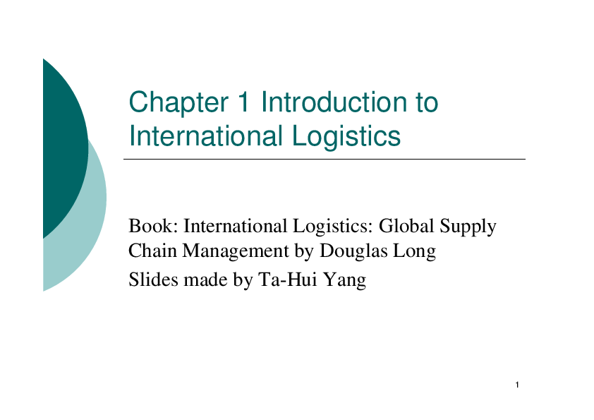 PDF) Chapter 1 Introduction to International Logistics Book