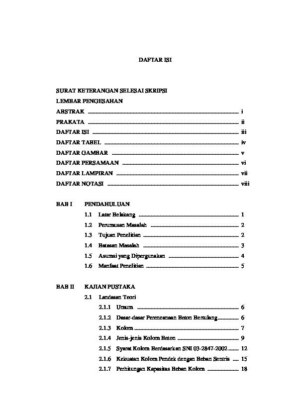 Doc Daftar Isi Surat Keterangan Selesai Skripsi Lembar Pengesahan Abstrak I Prakata Ii Daftar Isi Iii Daftar Tabel Iv Daftar Gambar V Daftar Persamaan Vi Daftar Lampiran Vii Daftar Notasi Viii Analisis