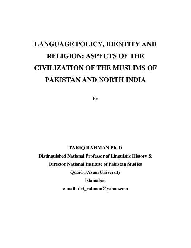 PDF) Language Policy, Identity and Religion in Pakistan | Dr
