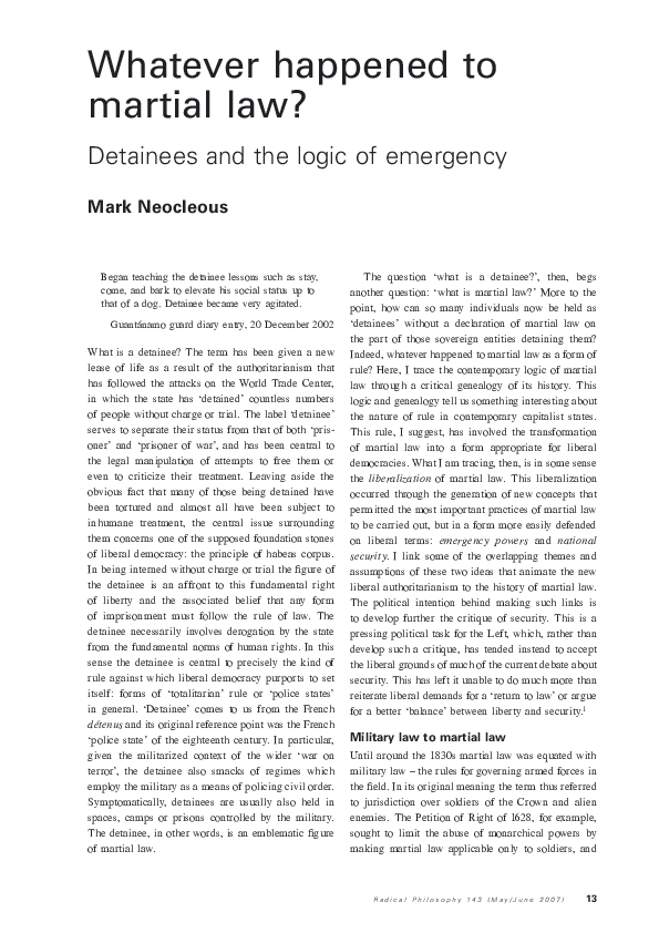 Pdf Whatever Happened To Martial Law Detainees And The Logic Of Emergency Mark Neocleous Academia Edu