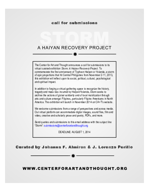 PDF) Storm: A Haiyan Recovery Project, curated by Johanna F