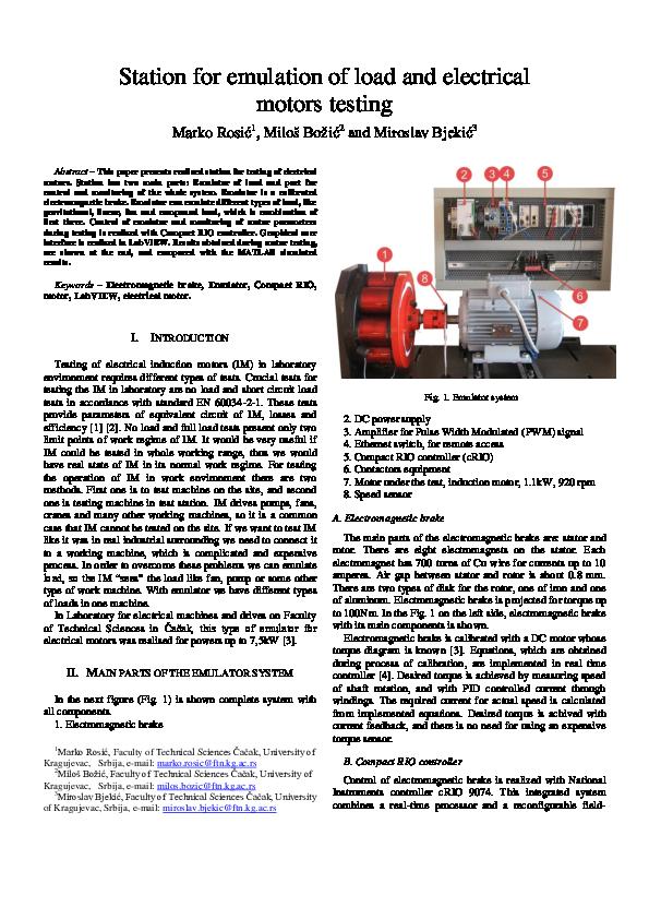 PDF) Station for emulation of load and electrical motors