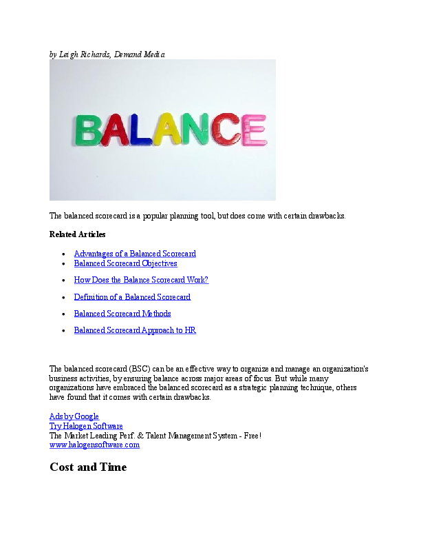 DOC) Advantages and disadvantages of balanced scorecards | Emmanuel