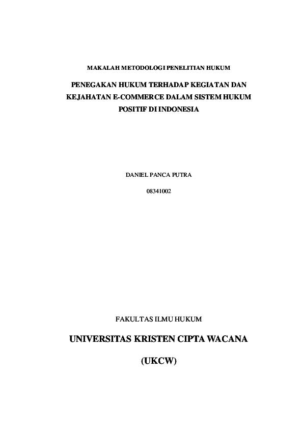 Doc Makalah Metodologi Penelitian Hukum Daniel Panca Academia Edu