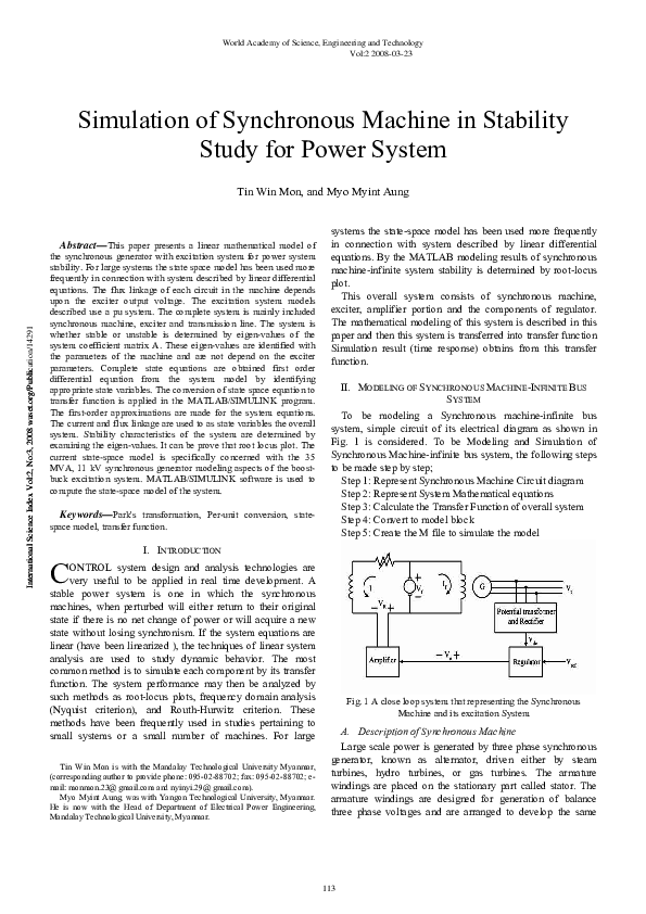 Pdf Simulation Of Synchronous Machine In Stability Study For Power System Madasu Ganesh Academia Edu